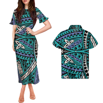 High Quality Polynesian Tribal Ornamental Ruffle Short Sleeve O Neck summer long dress maxi match all over print button shirts