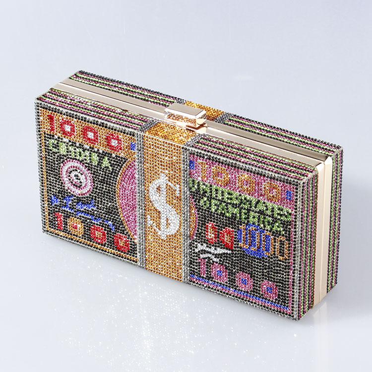 Индивидуальные сумки с цепочкой для денег, Роскошный кошелек в долларовом стиле, вечерняя сумка с украшениями из страз для вечеринки
