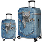Luggage Printed 3D Cowboy Cat Luggage Protective Cover Digitally Printed Elastic Spandex Washable Travel Suitcase Cover