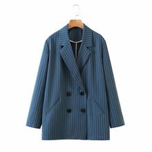 Женский блейзер в полоску Wixra, двубортный офисный пиджак с длинным рукавом, верхняя одежда на весну и осень(Китай)