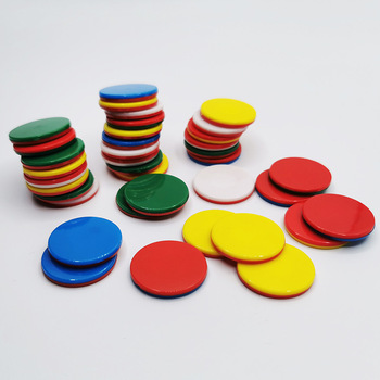 25mm New Arrival Cheap Price Mix Color Plastic Game Coins Plastic Token Coins Printed Numbers