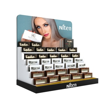 Customized eyelash lash lipstick make up product display stands counter table top cardboard cosmetic display stand