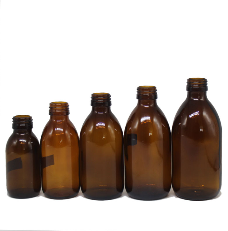 Medical Use 30ML 50ML 60ML 100ML 150ML 250ML 500ML Oral Liquid Amber Glass Syrup Bottle With Aluminum Cap