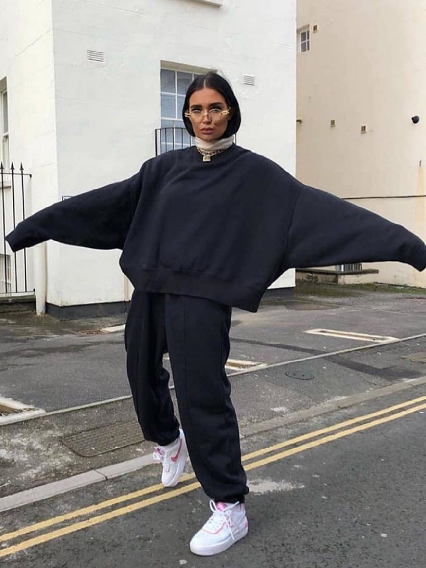 2021 свободный Универсальный Повседневный женский свитер, спортивные брюки, костюм с капюшоном