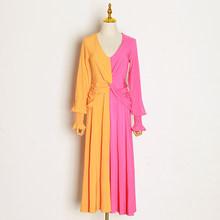 Платье TWOTWINSTYLE, с высокой талией и рукавом-фонариком, до щиколотки, 2020(Китай)