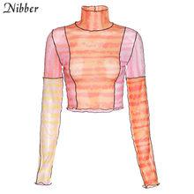NIBBER/осенний сетчатый укороченный топ с графикой, женские футболки с длинными рукавами, Милая Сексуальная Высококачественная Уличная Повсе...(China)