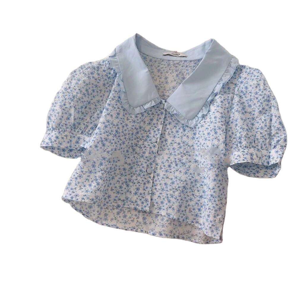 Luxe home 603506w111 Half Sleeve Purple Peter Pan Collar Chiffon None Decoration Loose Flowers Shirt