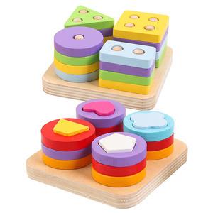 Early Educational Geometric Shape Matching Wooden Toy Kids Eco-friendly Paint Column Blocks