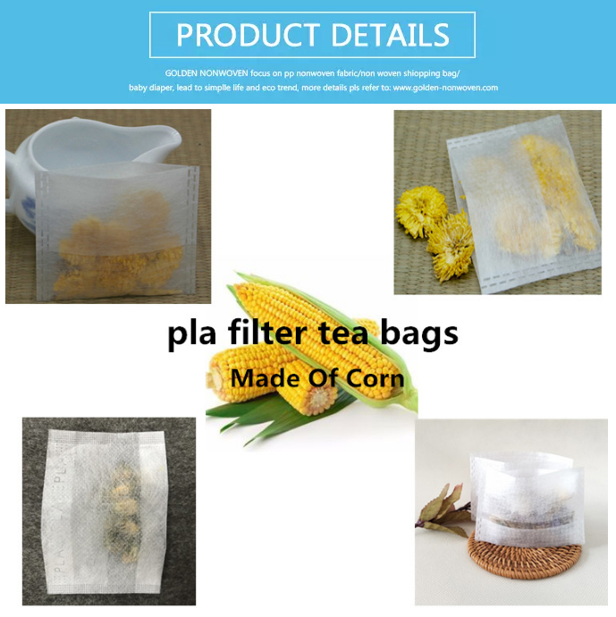 Cheap Factory Price Any Shape Foldable Tea Bag Packaging, Biodegradable Empty Tea Bags, Corn Fiber Non Woven Green Tea Bag