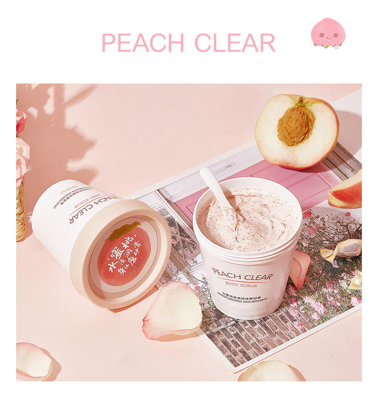 Custom peach ice cream pink organic exfoliating body scrub, private label whitening body scrub, bulk natural vegan body scrub