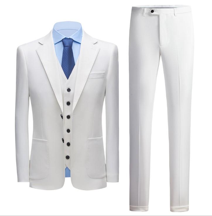 JEJEhomme Mens Slim Fit Suits Wedding Tuxedo Two Button Jacket Pants Set Solid Black