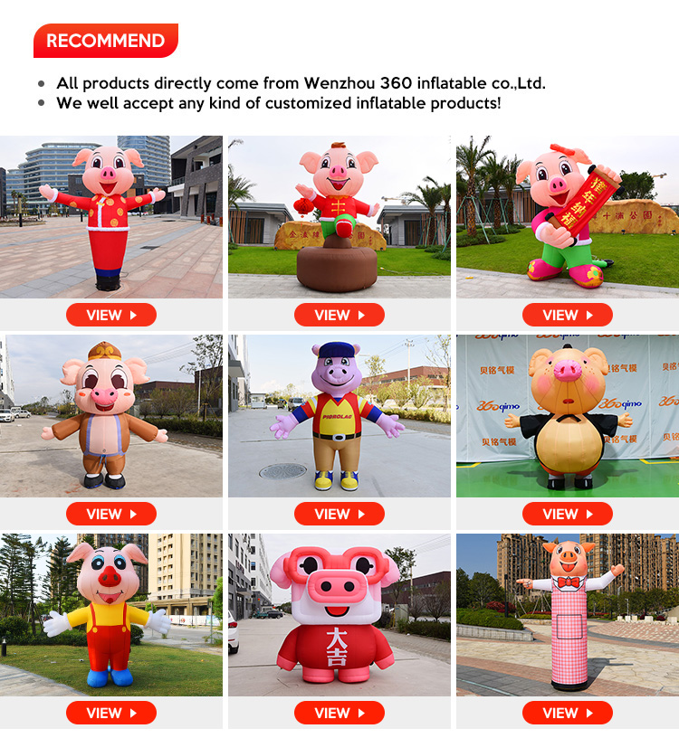 Custom advertising Stage inflatable pig statue giant inflatable mascot cartoon animal dancing pig  decoration for party/event