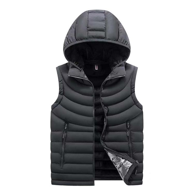 Winter wholesale multi pocket cotton padded vest for men with detachable hood