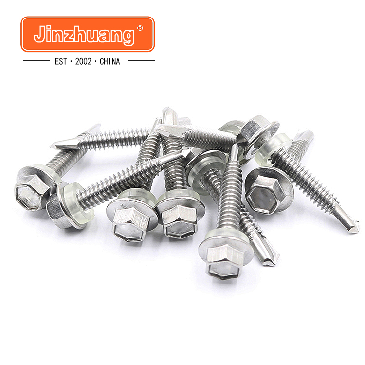 Manufactory Wholesale din7504 stainless steel 410 304 galvanised hex flange head self-drilling screw roof with epdm washer