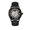 Black case, black dial, black leather, gold hands