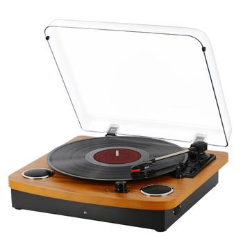 Vintage Vinyl Record Turntable Player with BT,LP 3-Speed Belt-Drive,RCA Output,3.5mm Aux Input,Headphone Jack