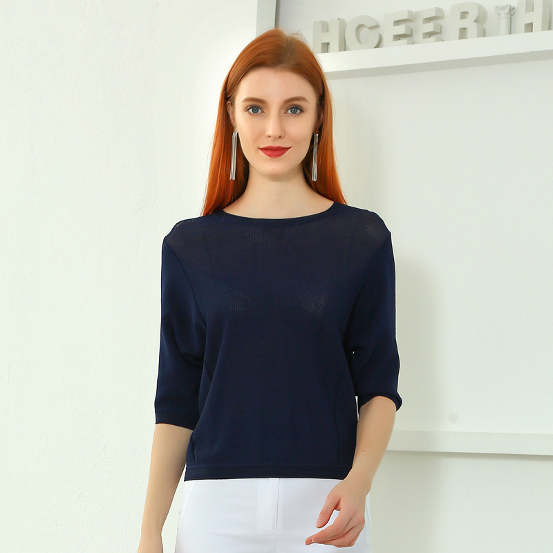 2021 Sweater Womens Spring New Solid Color Seven-Point Bat Sleeve All-Match Sweater Shirt Women T110091