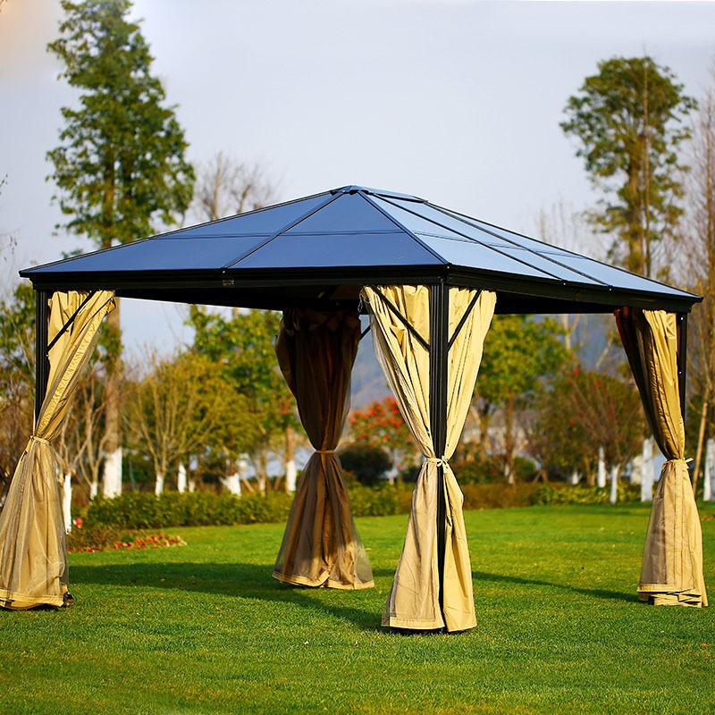 Garden Morden Gazebo Party Outdoor Galvanized Fabric Roof 4*4M Luxury Aluminium Outdoor Big Gazebo Pavilion Waterproof