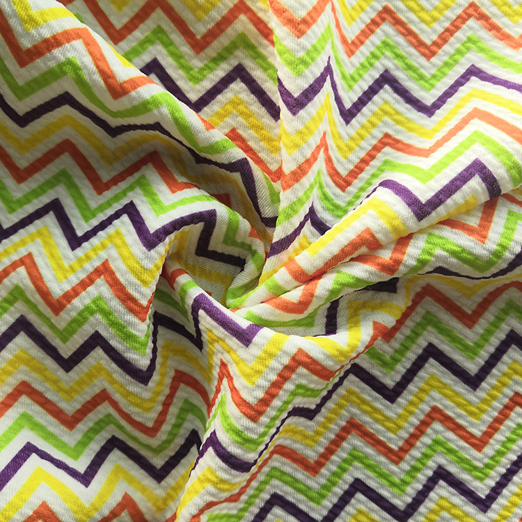 Stripe Pattern Polyester Spandex Fabric Digital Print Bullet Liverpool Fabric for Baby Clothes