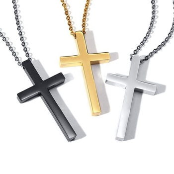 High grade silver/gold/black color christian religious gift hot sale simple classic stainless steel cross pendant with chain