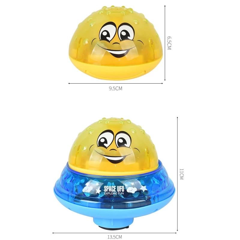 Игрушки для ванны в стиле нло, вращающийся распылитель воды с подсветкой для душа, детские игрушки для детей, малышей, для купания, вечеринки, для ванной комнаты, игрушки со светодиодной подсветкой