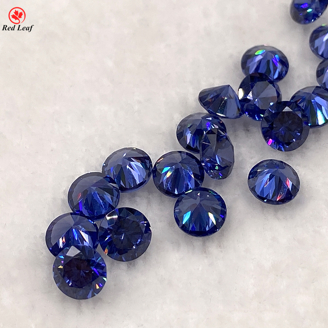 Synthetic Cz Stone Tanzanite Round Brilliant Cut Cubic Zirconia Loose Gemstone