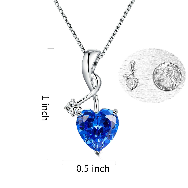 Silver Color Necklace Blue Sapphire Pendant Women www.1mrk.com