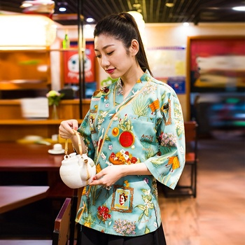 Japanese Style Vintage Chefs Clothes Kimono Style Half Sleeve Uniform Sushi Restaurant Chef Jacket Izakaya Waitress Workwear
