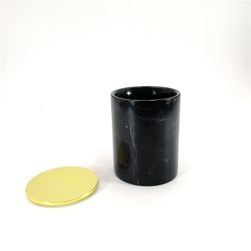 Wholesale marble stone candle jars black marble stone material candle jars for home decoration