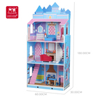 Doll Wood House For Child 2021 New 3 Floors Girls Petend Role Play Game Kids Big Wooden Doll House For Children