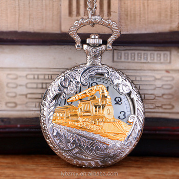 Wholesale Train Silver vintage watch Men Women antique model Tuo table Hollowed Pocket watch