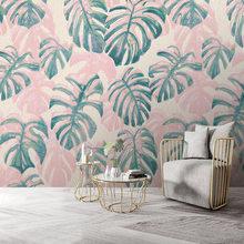 Ручная роспись тропические листья на заказ, настенная бумага, шелковая ткань для гостиной, спальни, ТВ-фона, домашний декор, настенная бумаг...(Китай)