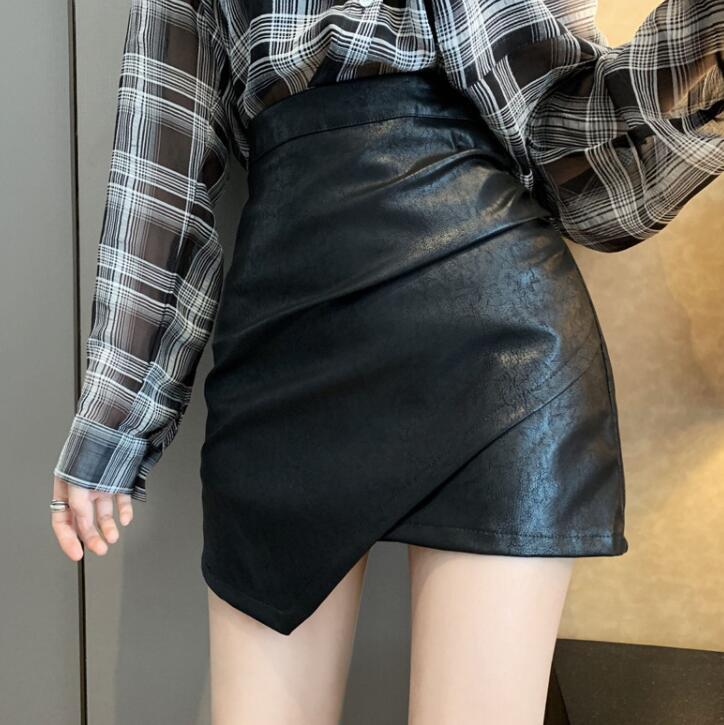 Runwaylover  E360 New design retro ladiesirregular A line pu skirt