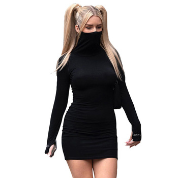 New Look Women'S High Turtle neck Long Sleeves Solid Color Package Hip Slim Fashion Dresses Women Black Dress 2021 Shein Dress
