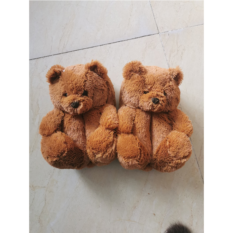 blue teddy bear slippers for women 2021 new arrivals furry bear slippers shoes