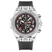 Switzerland Алмазная резка Япония Miyota кварц бренд прозрачные, со стразами мужской, женский, для пар часы tide shaking rolexable(Китай)