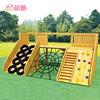 Wooden outdoor climbing playground