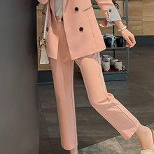Женский брючный костюм, элегантный офисный костюм из 2-х предметов с отложным воротником, пиджак размера плюс, Корейская зимняя одежда для р...(Китай)