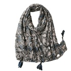 Scarf Love Heart Style Cotton Viscose Scarf Black Gray Geometry Print Beach Scarf With Tassel