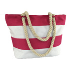 Stylish Deluxe Utility Stripe Canvas Tote Women Bag Handbags