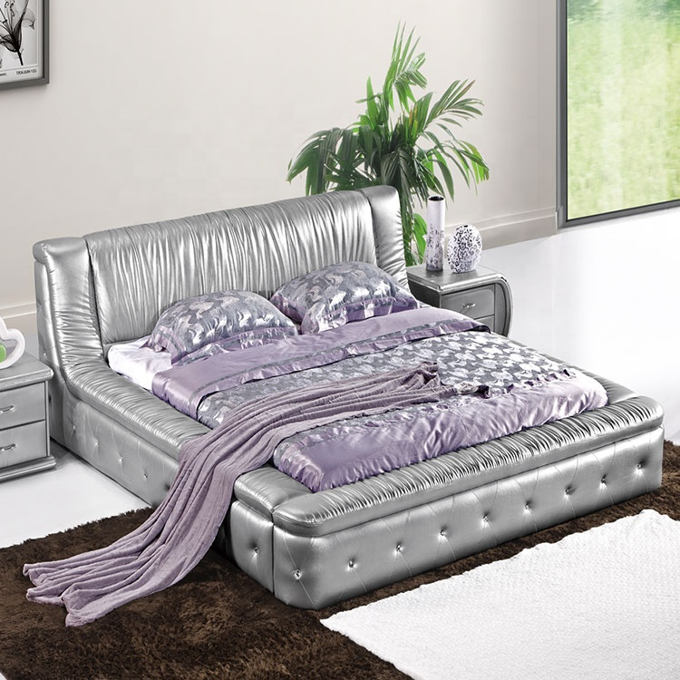 hot style soft silver black faux leather double the bed back new model designs double bed faux