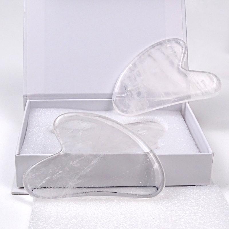 New style Clear stone jade gua sha Scraping white Clear Quartz Gua Sha Massage Tools with box