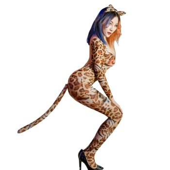 6168 wholesale sexy costumes women sheer mesh leopard backless crotchless jumpsuit Halloween costumes cat girl cosplay lingerie