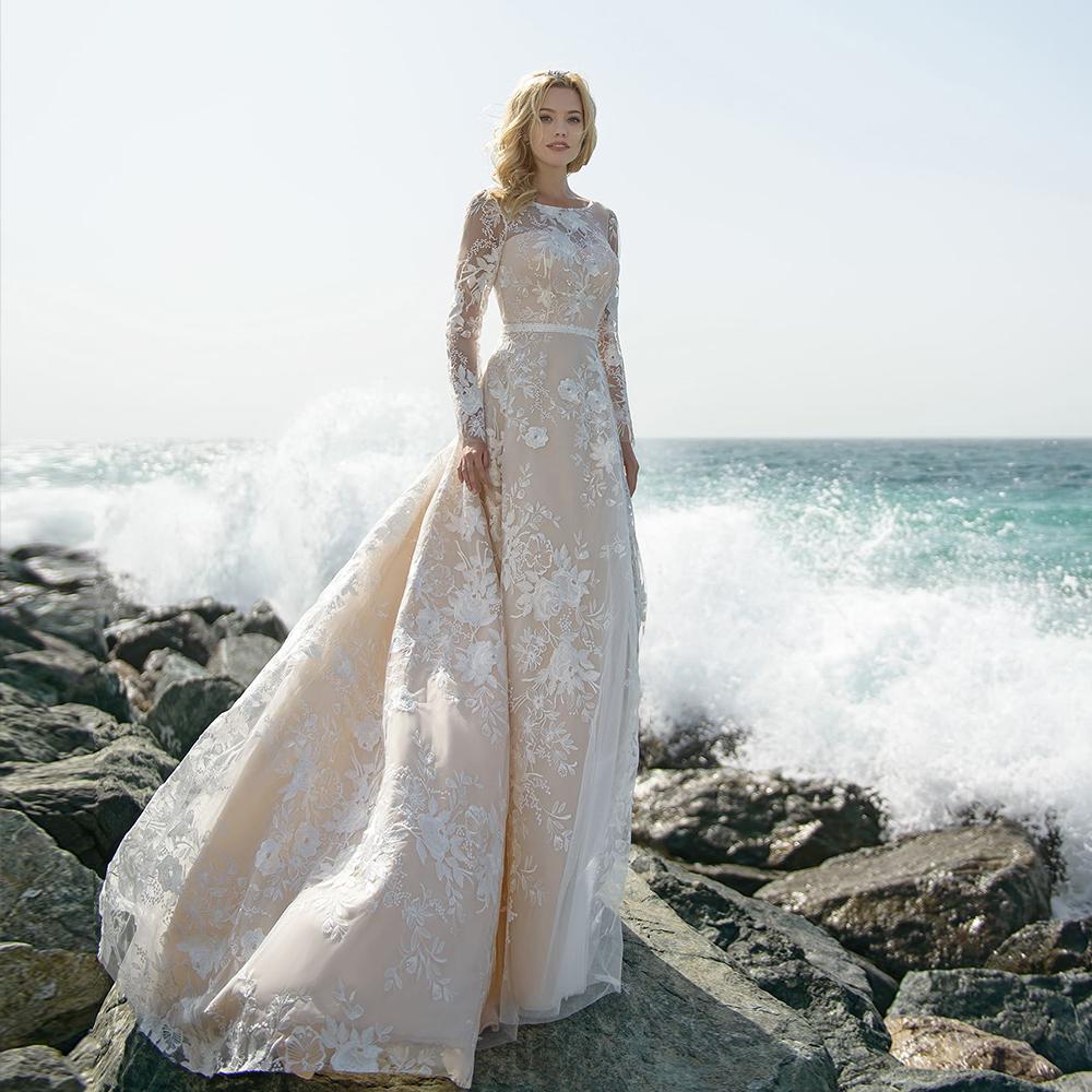 Кружевное свадебное платье-футляр с круглым вырезом, открытой спиной, длинным рукавом, бисером, поясом, свадебное платье