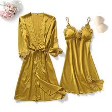Женский халат на бретельках, комплект из 2-х предметов, пижама-кимоно, домашняя одежда, ночная рубашка, пижама для сна, на лето, 2019(Китай)
