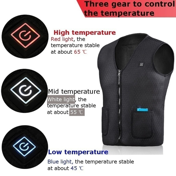 Mens Winter Heated Waterproof Polyester Carbon Fiber Heating Wind Resistant Coats USB Power Supply Sleeveless Vest Jacket 5V