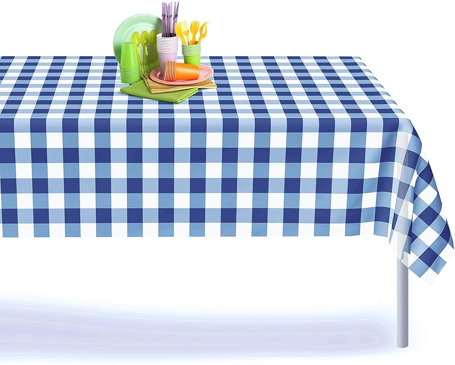 Red gingham checkered disposable plastic party tablecloth decorative rectangle table cover