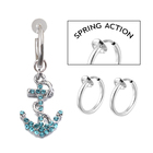 Aqua Lt blue Anchor Boating Shape Non Piercing Navel Ring Clip on Dangle Belly Ring