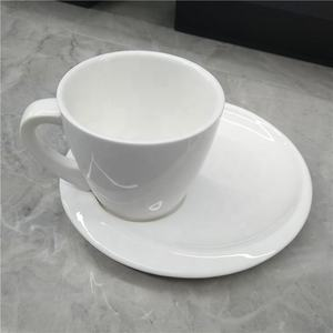 JQY white round porcelain stocked hot sell restaurant hotel afternoon tea coffee cup with saucer tea cup with saucer