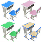2021 hot sell single wood double metal colors school student study furniture table desk for classroom